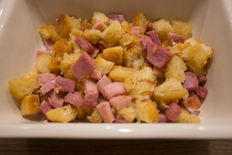 Croutons et jambon
